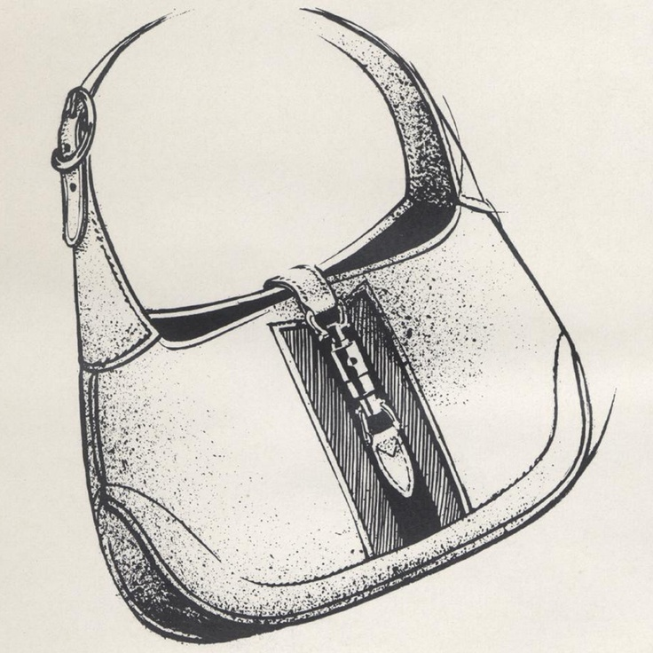 Drawn purse old fashioned Jackie bag drawing Bagiau Other