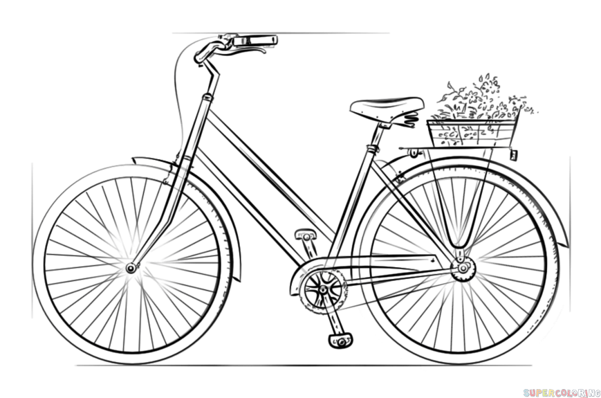 Drawn bike bicycle line #1