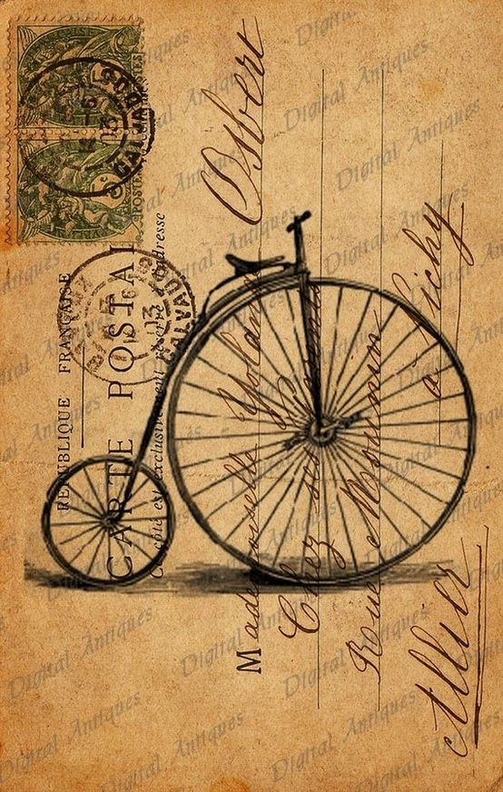 Drawn pushbike old bicycle Post Sheet ideas Bicycle Cards