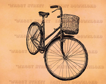 Drawn pushbike vintage bicycle Instant bike clip Retro clipart