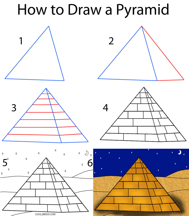 Drawn pyramid Draw How by (Step a