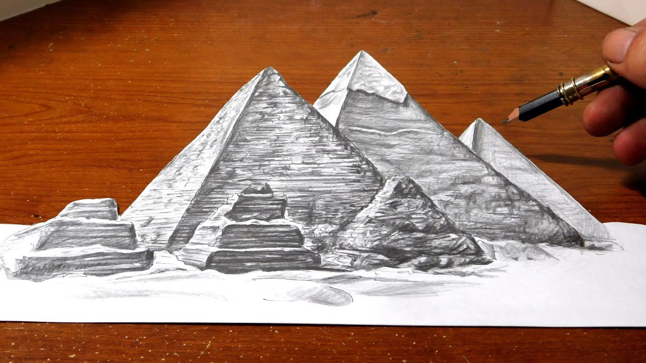 Drawn pyramid The  Egypt Great of