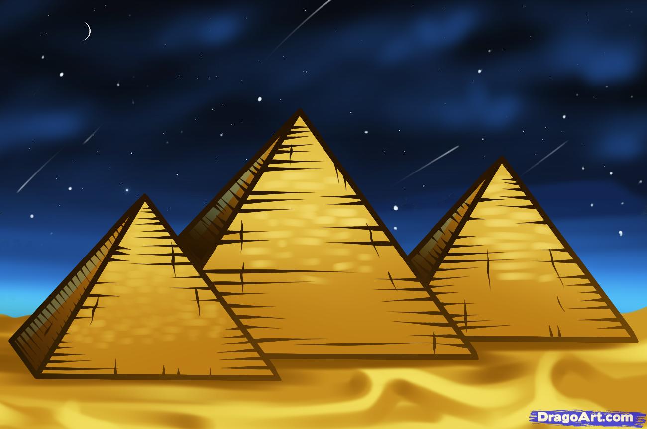 Drawn pyramid Draw Step how giza the