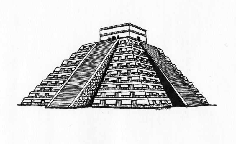 Drawn pyramid aztec pyramid Aztec architecture Search  architecture