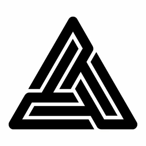 Drawn pyramid black and white Right Ear Up  (Black