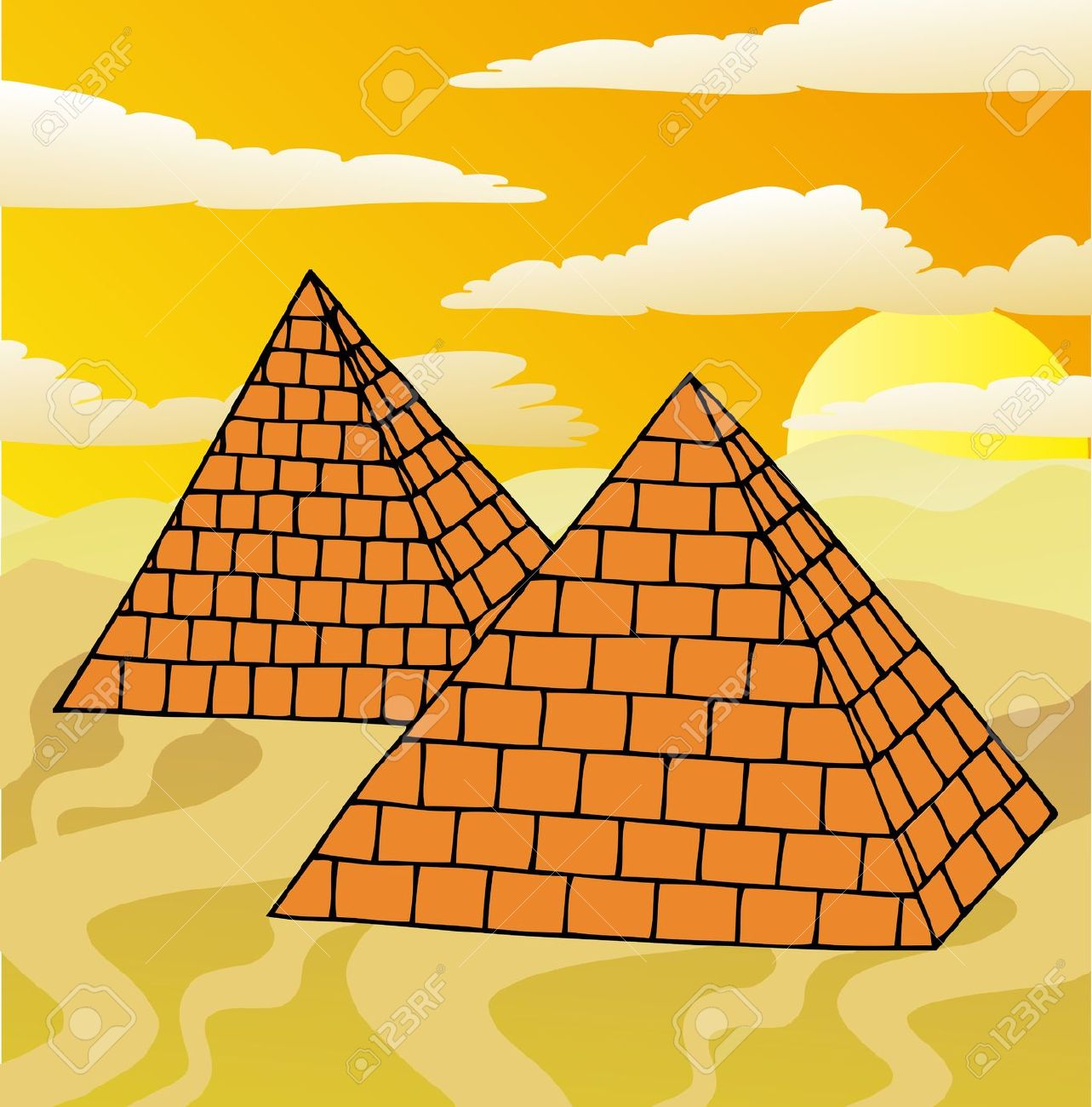 Drawn pyramid cartoon Egyptian Clip Pyramid Art Clip