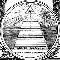 Drawn pyramid dollar bill pyramid (on 1786 Dollar of &