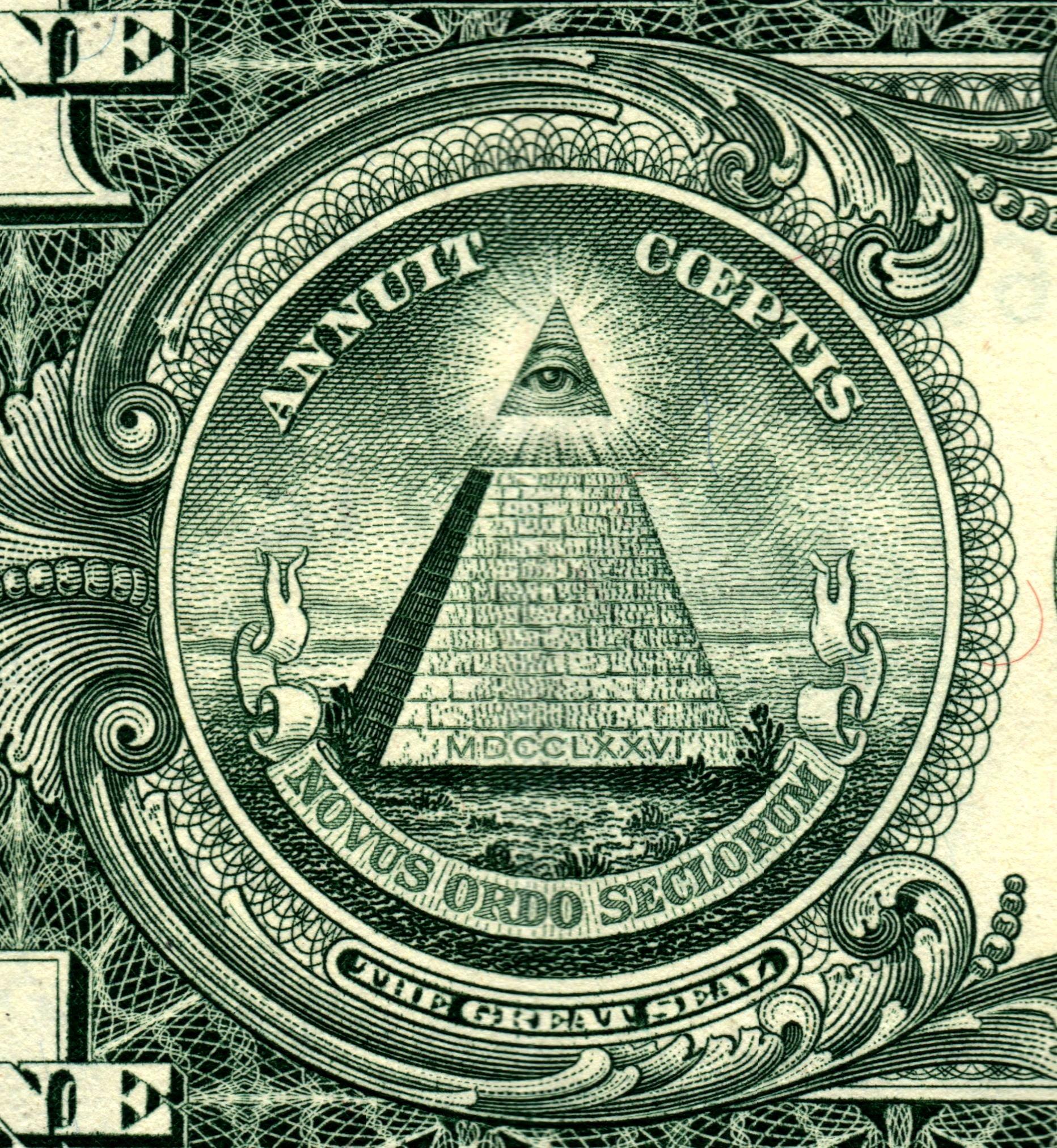 Drawn pyramid dollar bill pyramid One the 'eye of of