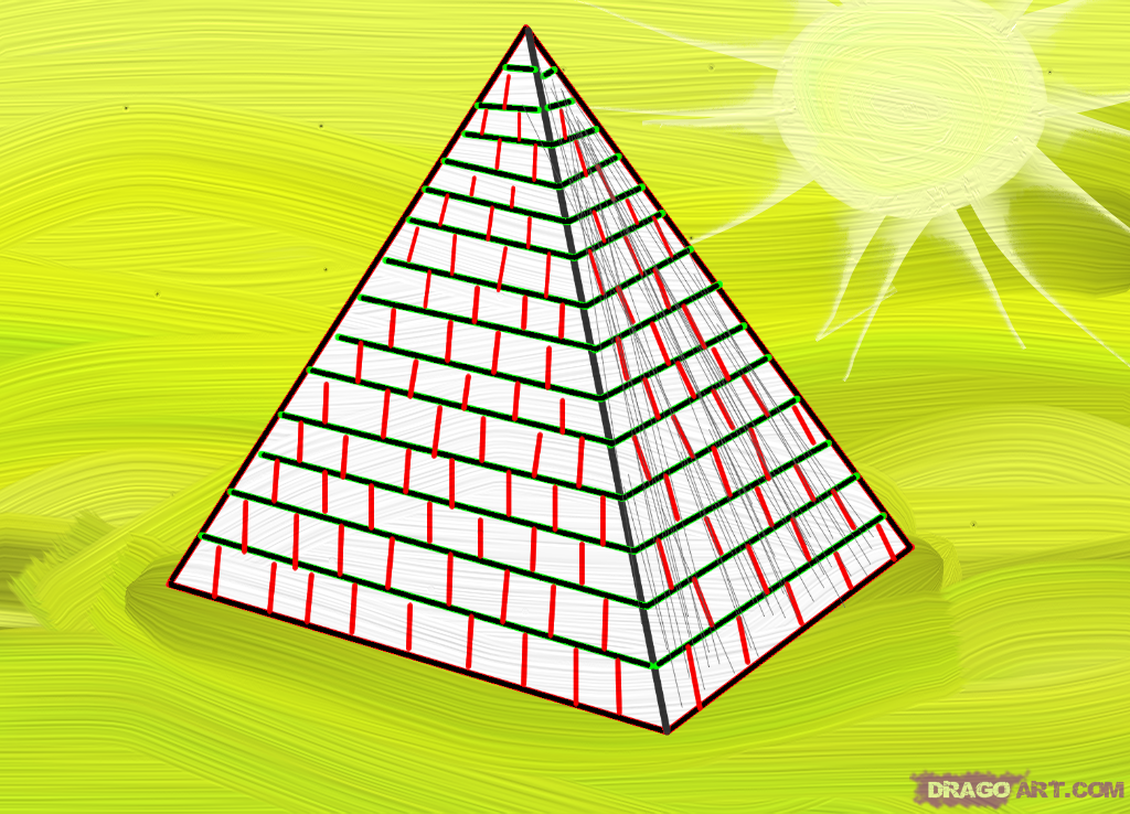 Drawn pyramid egyptian pyramid By Draw draw How Buildings