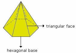 Drawn pyramid hexagon Example define Pyramid of hexagonal