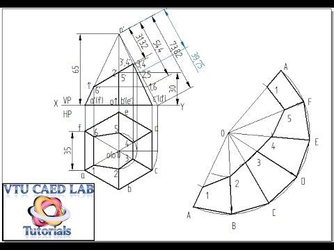 Drawn pyramid hexagon Development hexagonal truncated of a
