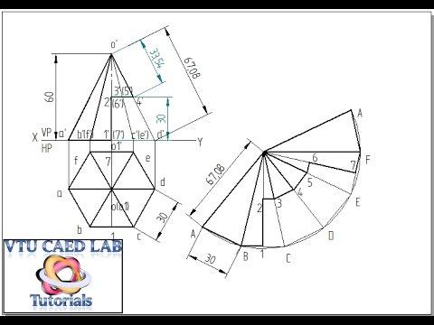 Drawn pyramid hexagon Development YouTube Development hexagonal of