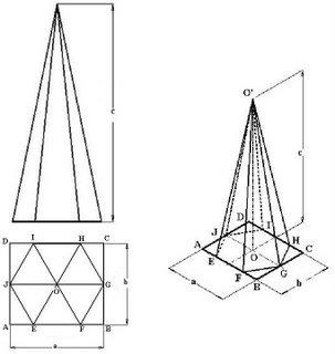 Drawn pyramid hexagon Pyramid J  E apex