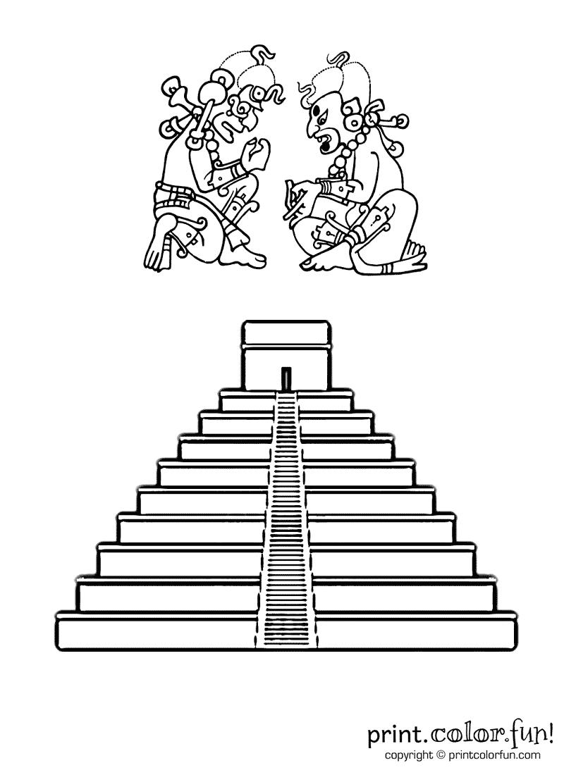 Drawn pyramid maya temple Free  Color Mayan pages