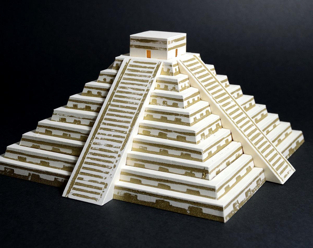 Drawn pyramid maya temple Lino cut Mayan Like with