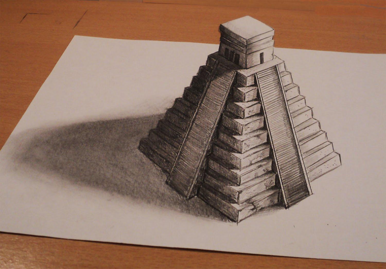 Drawn pyramid mayan pyramid Anamorphic Anamorphic maya Optical Drawing