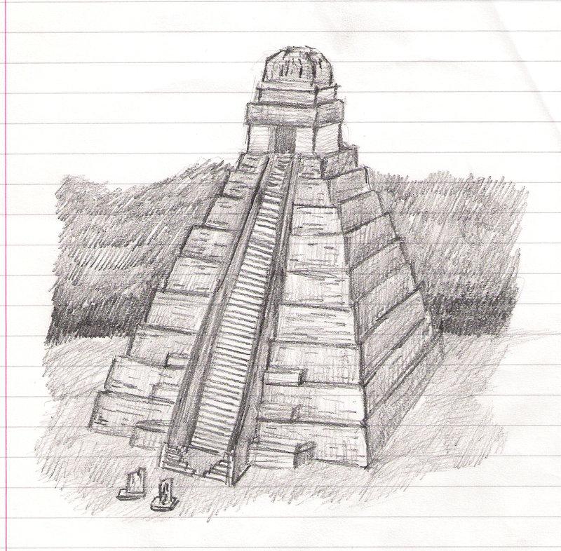 Drawn pyramid mayan pyramid Fire fire Sketch n ice