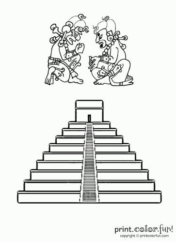 Drawn pyramid mayan temple  Coloring pyramid Let's Mayan