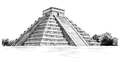 Drawn pyramid mayan temple Maya Contrast Compare  Eric