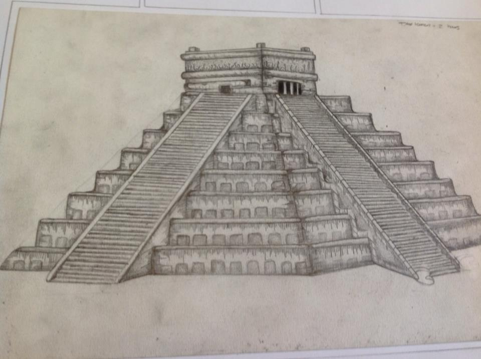 Drawn pyramid mayan temple On Scapton Temple Scapton Drawing