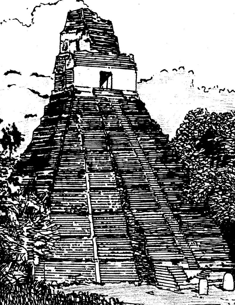Drawn pyramid mayan temple Architecture of the 'Temple –