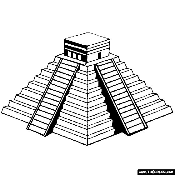 Drawn pyramid mayan temple Maya Riviera Castillo on Maya