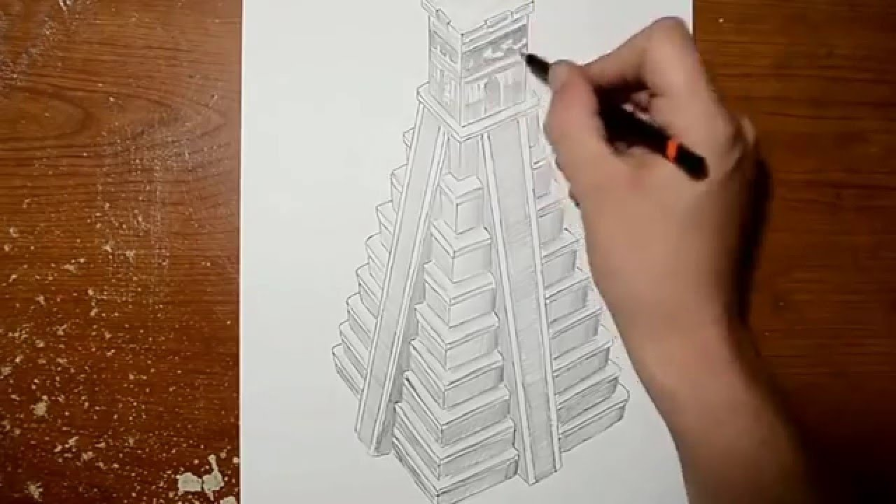 Drawn pyramid optical illusion Illusion Drawing a Pyramid Drawing