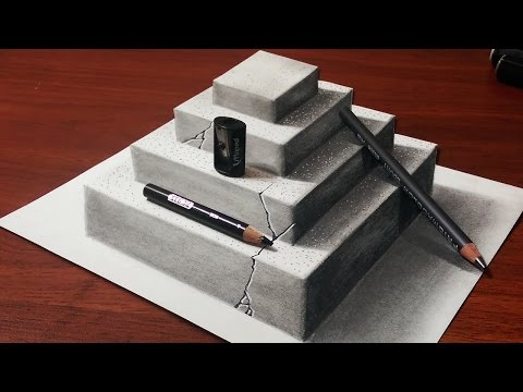 Drawn pyramid optical illusion Concrete Pyramid Anamorphic Pyramid a