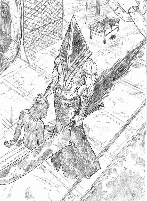 Drawn pyramid pencil A Bloody Art] silent_hill__s_pyramid_head_a3___pencil_sketch_by_igorchakal Sketches
