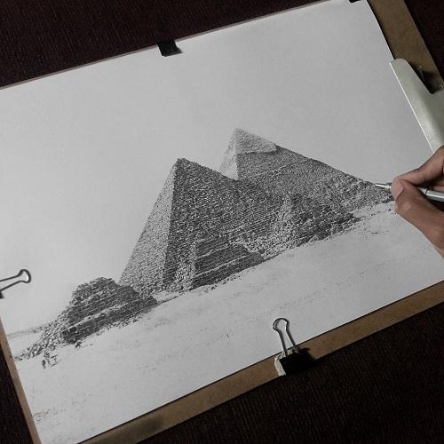 Drawn pyramid pencil 50 Malique pencil Ashraf One