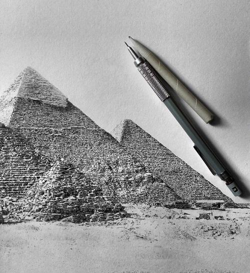 Drawn pyramid pencil The by Giza drawing Hyperrealistic
