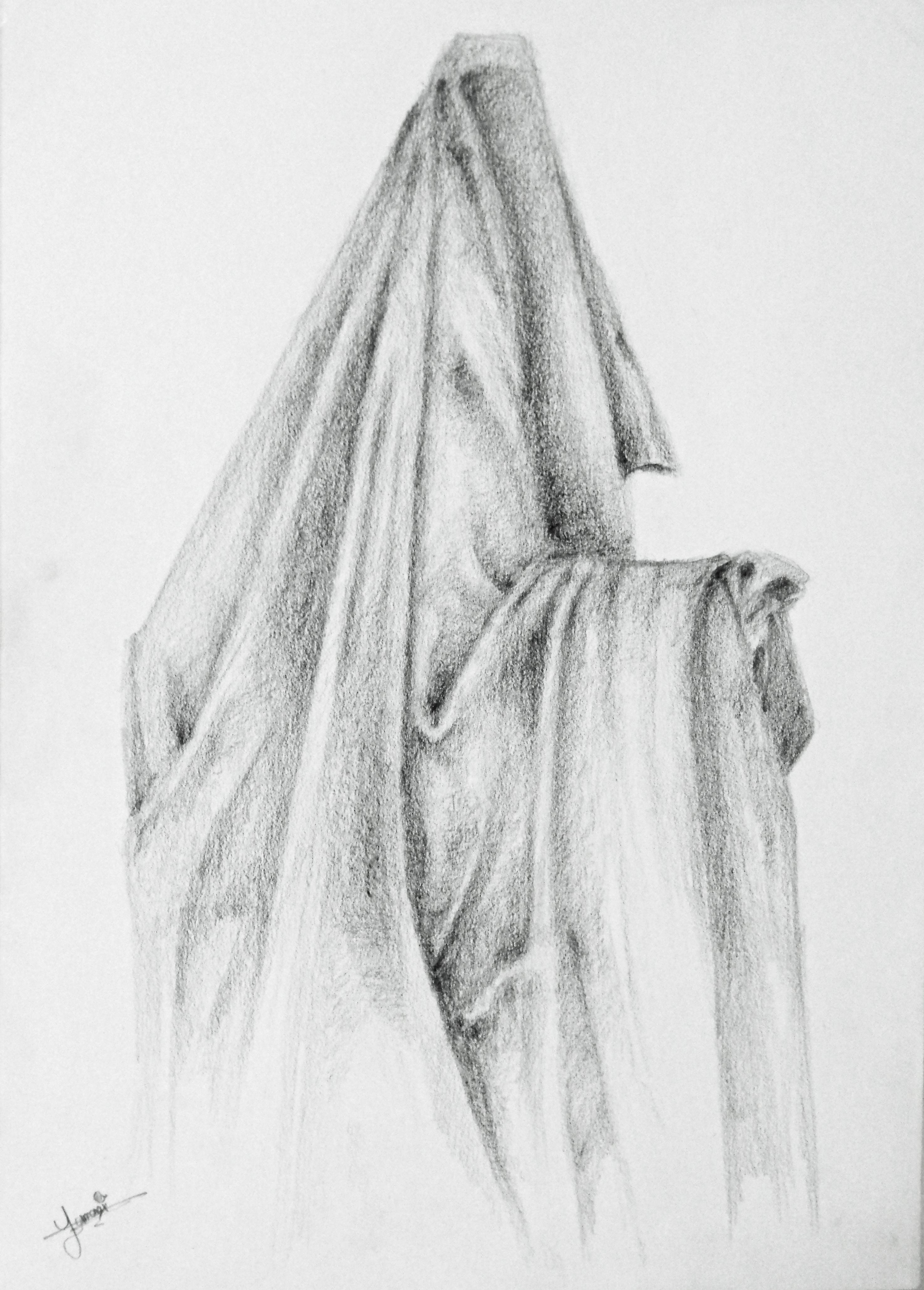 Drawn pyramid pencil Using 2B Pencil of shadow