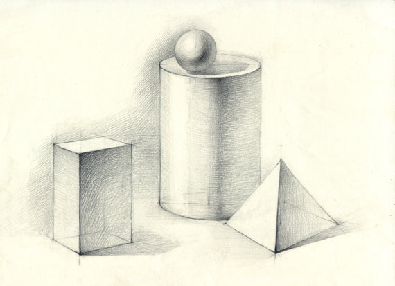 Drawn pyramid pencil On In original sphere and