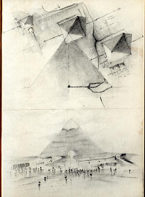 Drawn pyramid pencil H Giza The ( Khafre