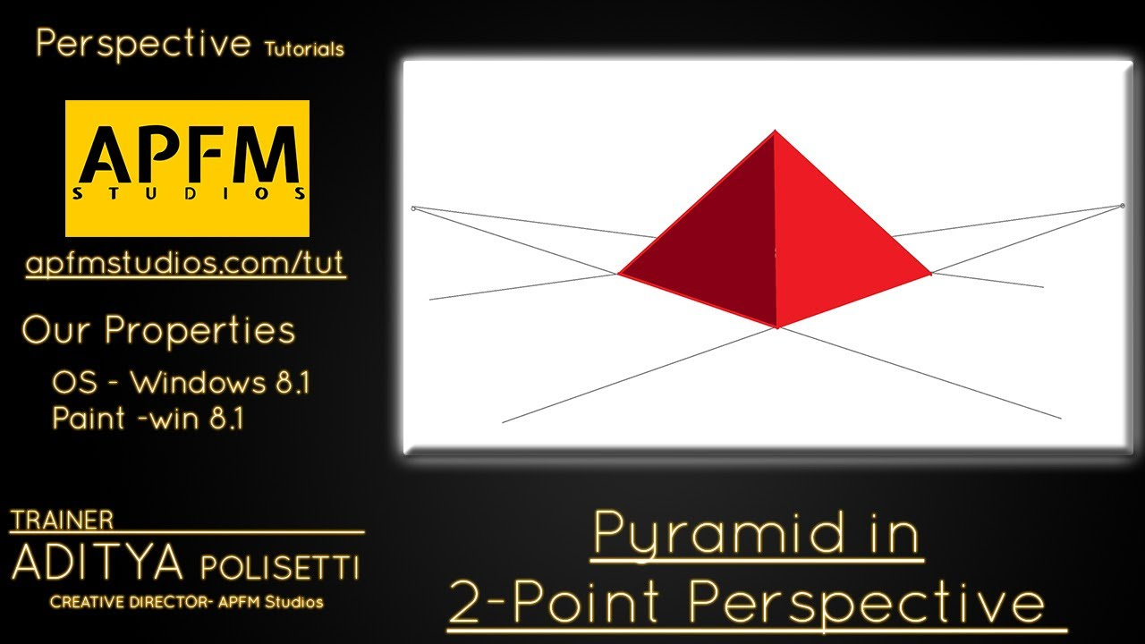 Drawn pyramid point perspective Perspective Perspective Pyramid in two