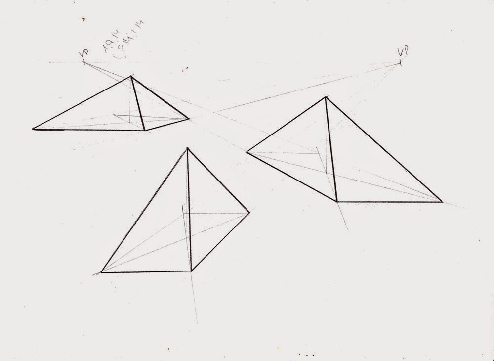 Drawn pyramid point perspective In Pyramid 1 2 and