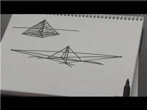 Drawn pyramid point perspective : YouTube Pyramid How to