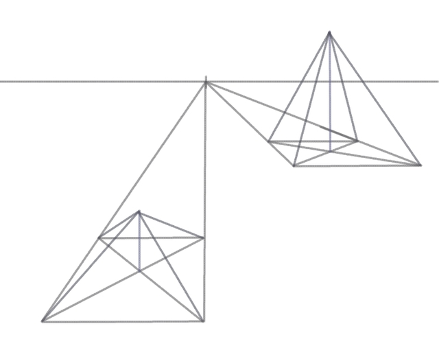 Drawn pyramid point perspective In a Perspective Perspective sides