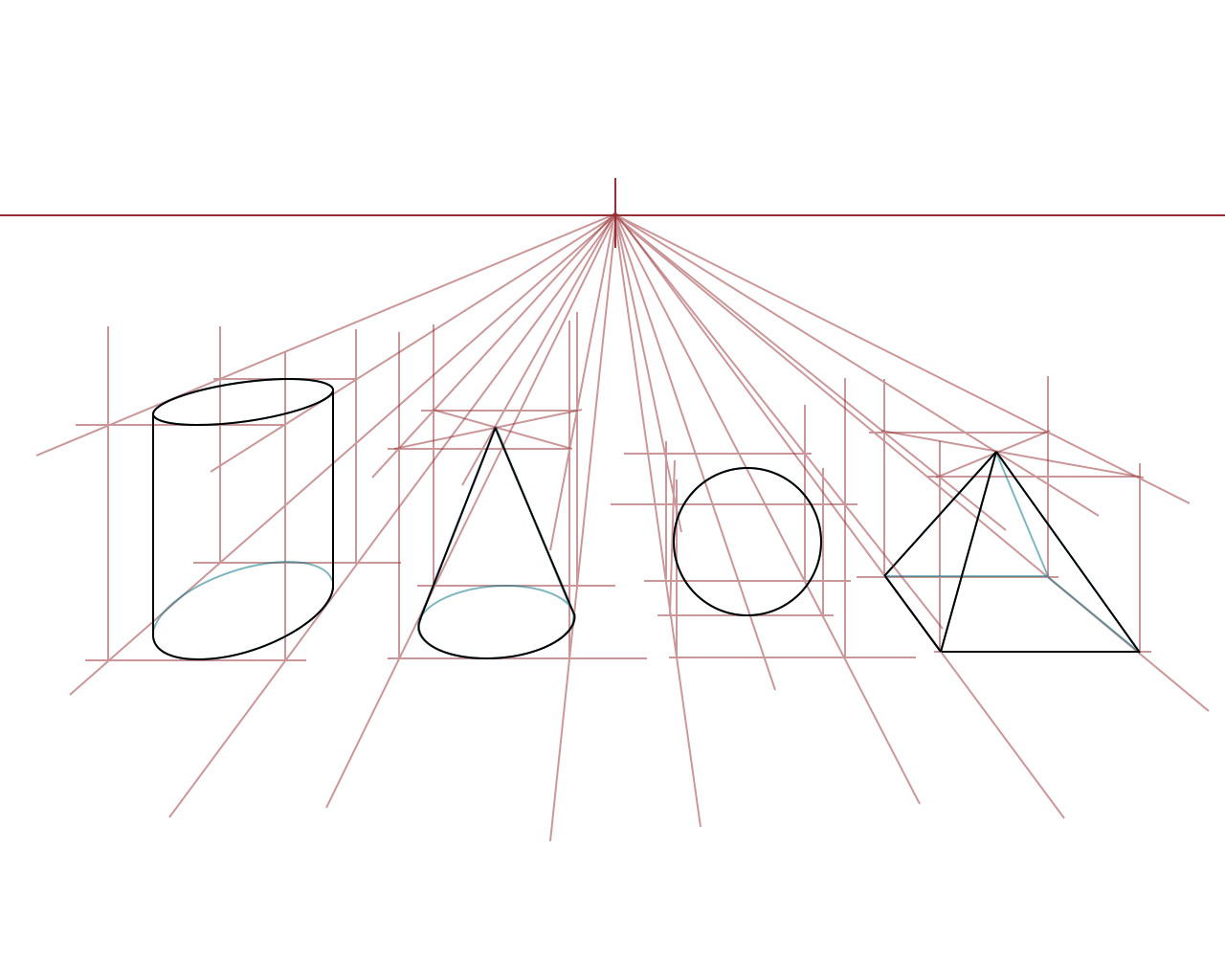 Drawn pyramid point perspective Photoshop: from to in the