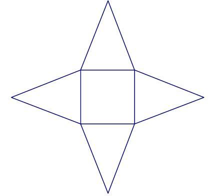 Drawn pyramid rectangular How pentagonal to net hexagonal