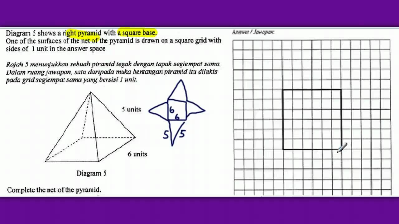 Drawn pyramid right A of a Net of