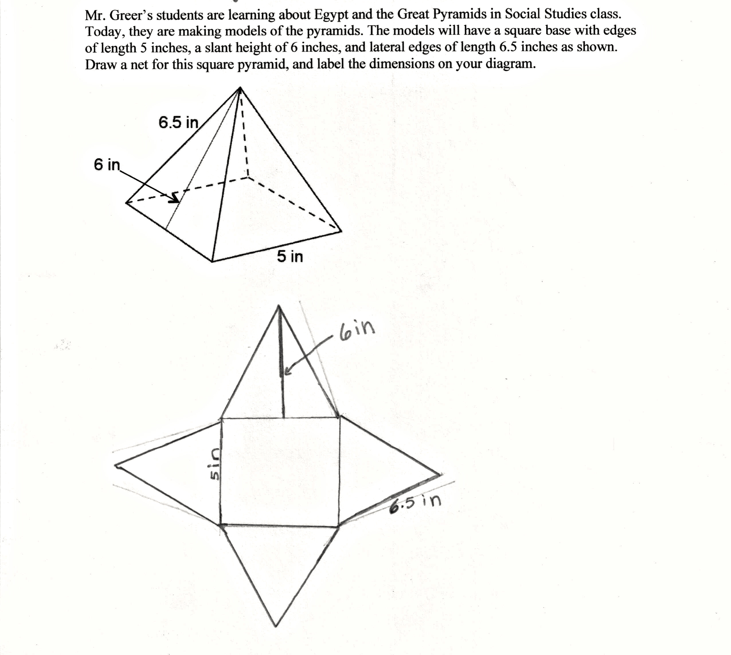 Drawn pyramid right Accurately three net using figure