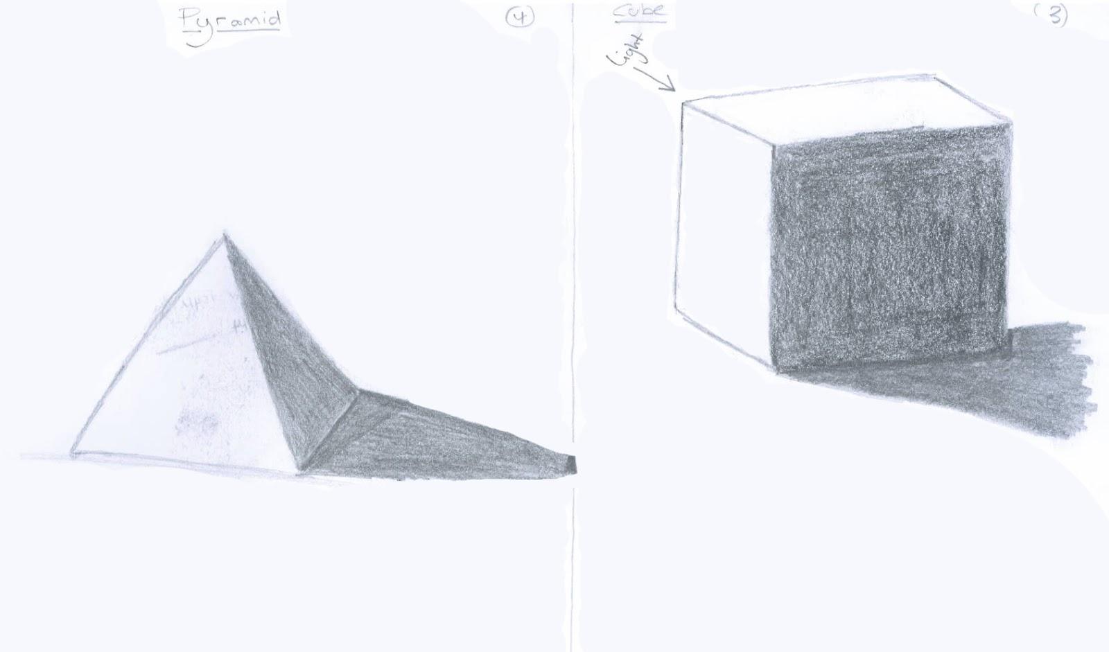 Drawn pyramid shaded & 4 and not long