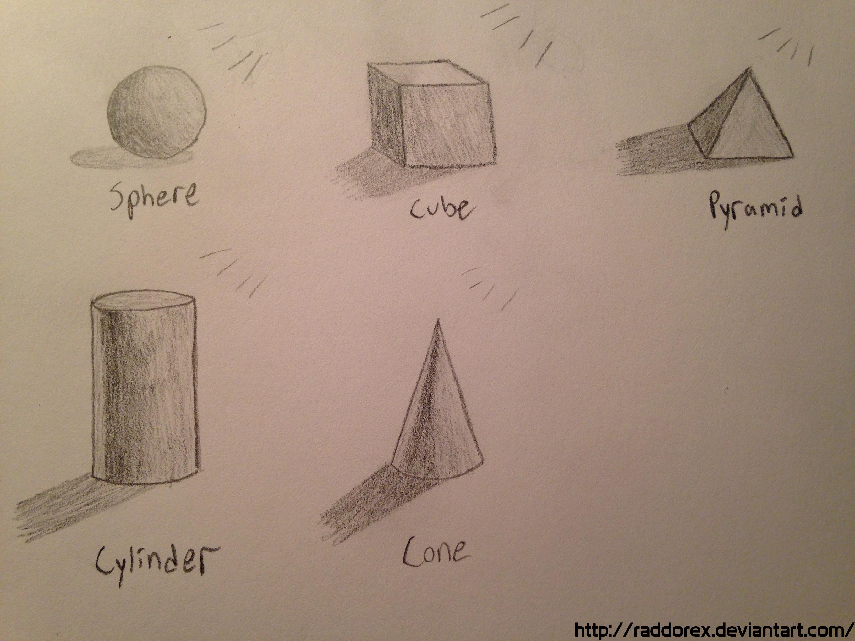 Drawn pyramid shaded DeviantArt by Practice 3D/Shading Shapes