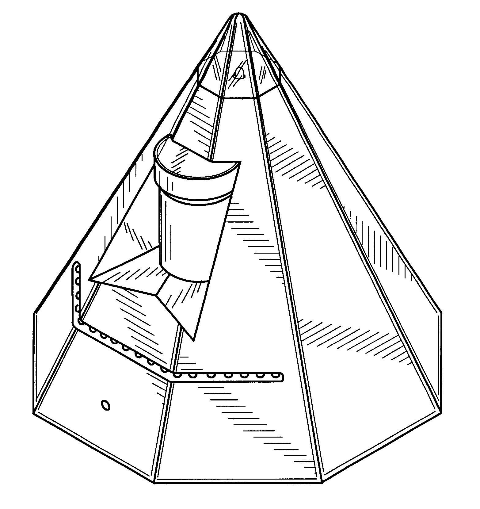 Drawn pyramid sided Unit Eight Drawing Patent sided