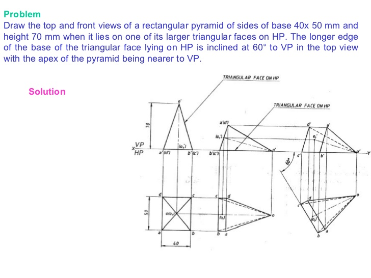 Drawn pyramid solid Of Draw Problem Projections solids