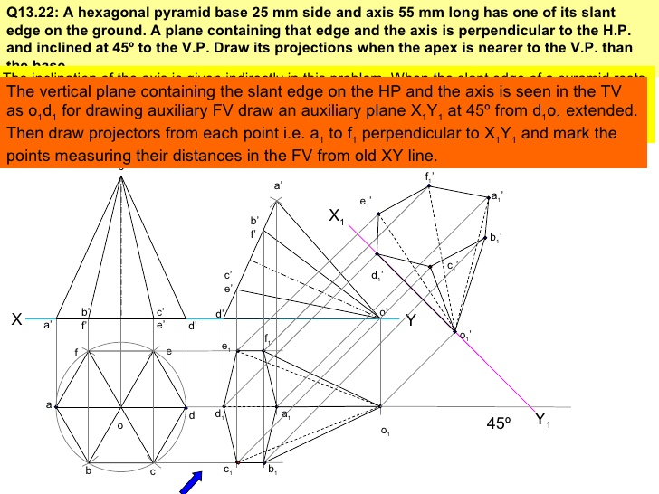 Drawn pyramid solid Solids Projection 21 of