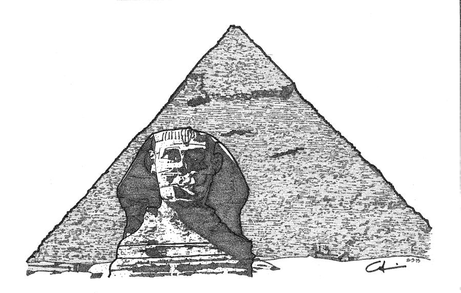 Drawn pyramid sphinx pyramid Sketch And by Sphinx Drawing