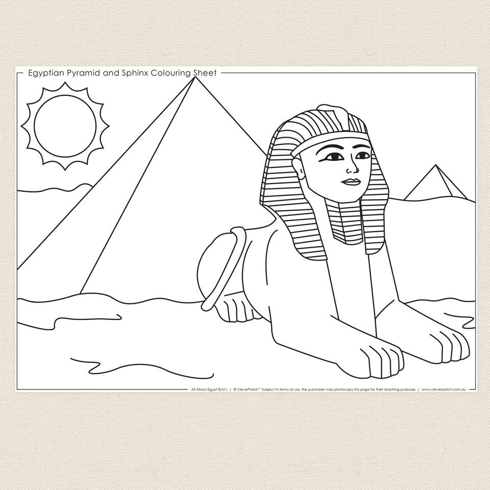 Drawn pyramid sphinx pyramid Egyptian sphinx  pages coloring