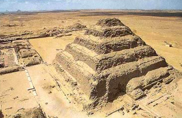 Drawn pyramid step pyramid Djoser of view The Saqqara